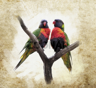 Grunge  Background With Parrots