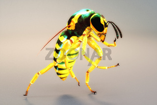 Artistic 3D illustration of a wasp