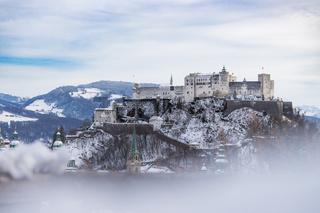 Snowy fortress Hohensalzburg in the Winter, Salzburg, Austria