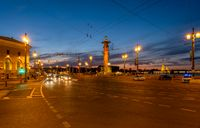 Rostral column in night Saint Petersburg