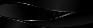 Abstract dark black textured panoramic background with smooth silvery lines