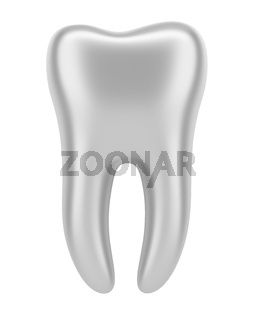 3d silver human tooth isolated on white background