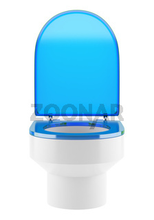 single modern toilet bowl with blue cover isolated on white background