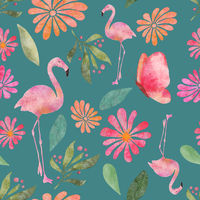 Butterflies and flamingos seamless pattern