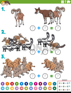 math addition educational task with cartoon animal characters