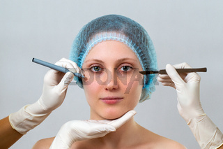 Young woman preparing for plastic surgery in cosmetic clinic