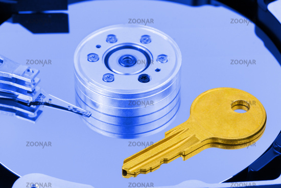 Key on computer hdd disk