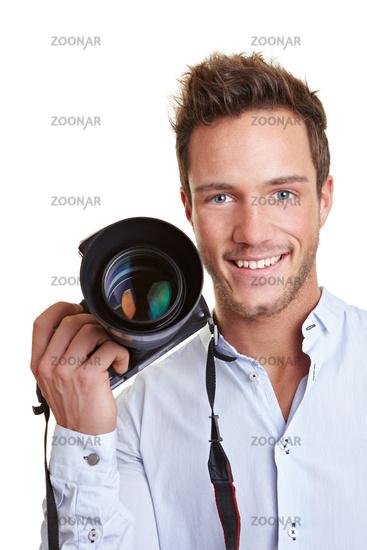 Junger Journalist mit Kamera