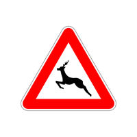 Deer icon on the triangle red and white road sign on white