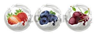 Berries yogurt. Strawberry, cherry and blueberry with milk splash