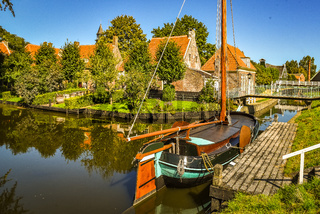 Enkhuizen, the Netherlands. September 2020. the old port with its traditional fishing boats in Enkhuizen.