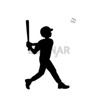 Silhouette boy baseball player swinging the bat. Symbol sport.