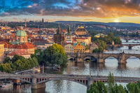 Prague Czech Republic, high angle view sunset city skyline at Charles Bridge and Vltava River, Czechia