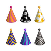Set of bright colorful party hat caps for celebration on white