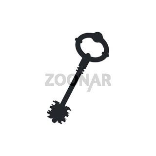 Old antique detailed door key simple black icon isolated on white