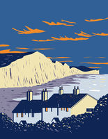 Seven Sisters Chalk Cliffs by English Channel Within South Downs National Park in Southern England UK Art Deco WPA Poster Art