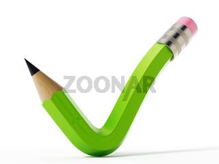 Pencil shaped like a checkmark symbol. 3D illustration