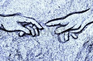 Michelangelos Erschaffung Adams  in Stein blau