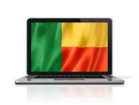 Benin flag on laptop screen isolated on white. 3D illustration