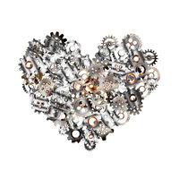 Detailed clockwork mechanism with glossy metallic steampunk cogwheels in heart shape on white
