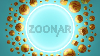 3D Illustration in turquoise and yellow colors with a space for a text.