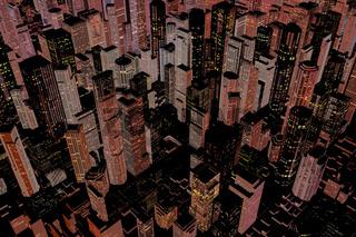 Beleuchtete Großstadt bei Nacht