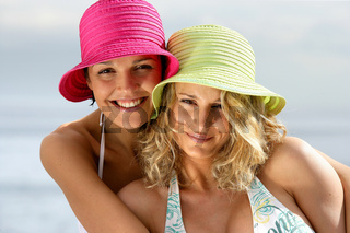 Portrait of two women at the beach