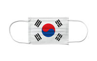 Flag of South Korea on a disposable surgical mask. White background