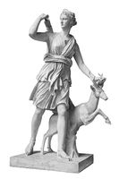 Ancient sculpture Diana Artemis. Goddess of of the moon, wildlife, nature and hunting. Classic white marble statuette isolated on white background