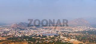 Panorama Holy city Pushkar and Puchkar Mela (camel fair) aerial view from Savitri temple. Rajasthan