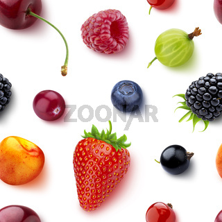 Seamless pattern of berries isolated on white background, flat lay, top view