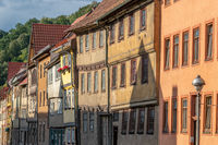 Street with facades of historical half-timbered houses in Wasungen