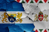 flags of District VII. (Erzsebetvaros) and Budapest painted on cracked wall