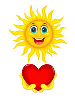 Sun with heart in hands