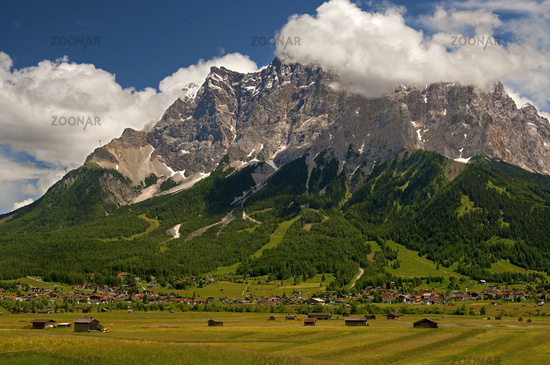 Mt. Zugspitze crowned by white summe clouds, Tyrol