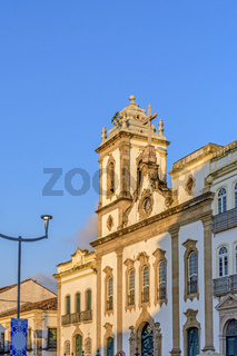 Front view of an old and historic church from the 18th century in the central square of the Pelourinho district