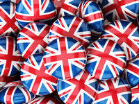 Stack of buttons with British flag. 3D illustration