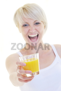 Young woman drinking orange juice isolated over white background