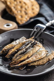 Smoked sprats on plate. Canned sea fish.