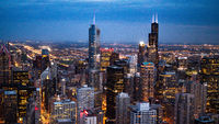 Chicago by night - impressive aerial view over downtown - CHICAGO, USA - JUNE 12, 2019
