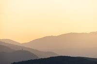 Silhouette of mountains in the evening.