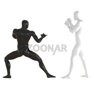 Two dummies white and black in poses of fighters practicing techniques on an isolated background. 3d rendering