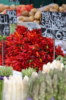 chillies on a vegetable market