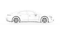 3d rendering of a sports car hybrid electric isolated on white background.