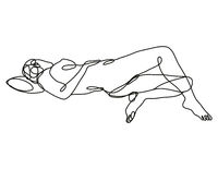 Female Nude Reclining in Supine Pose Continuous Line Doodle Drawing