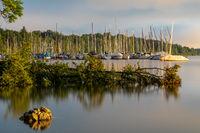 Marina in Bernried, Lake Starnberger See, in morning light