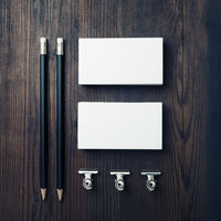 Blank business cards, pencils