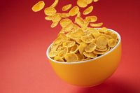 Bowl of corn flakes. Falling cornflakes with copy space