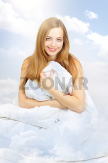 beautiful girl in the clouds