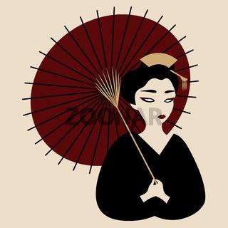 japanese geisha in black kimono walking with red parasol
